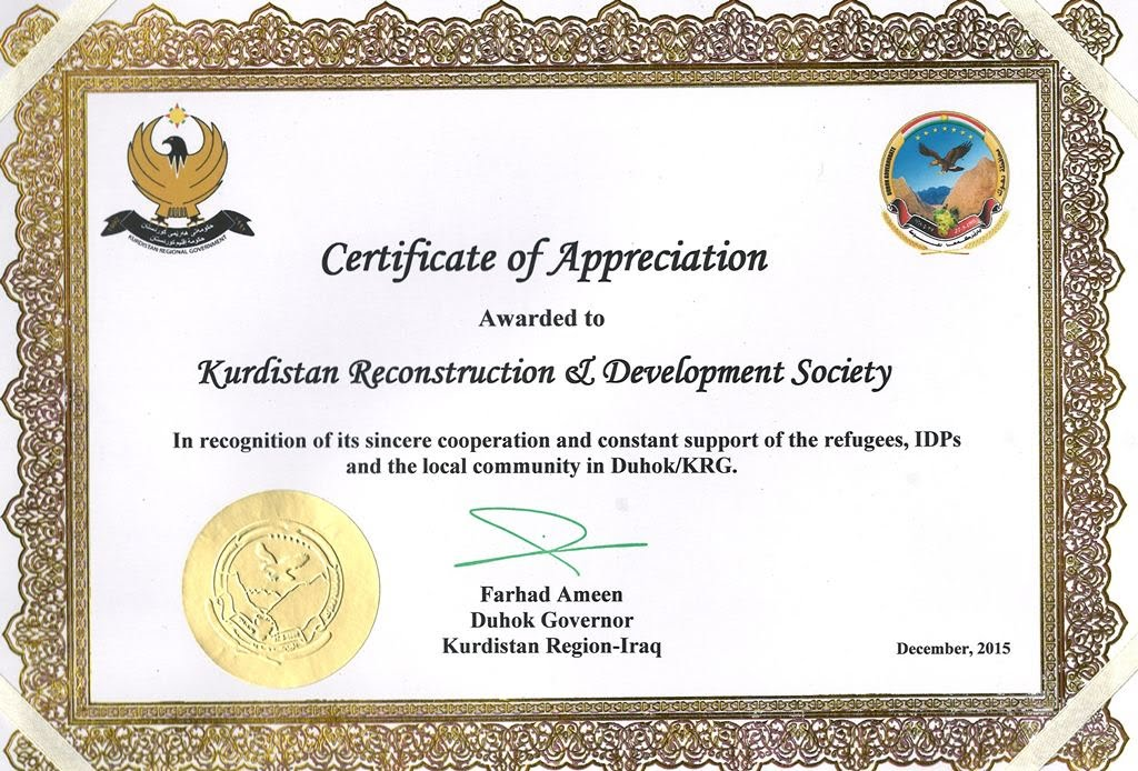 Appreciation Certificate - Kurds Ngo